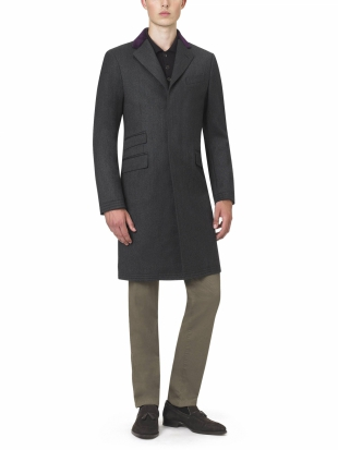 Grey Short Covert Coat Slim Fit Grey Short Covert Coat Slim Fit