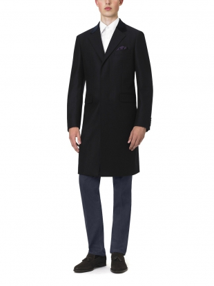 Navy Cashmere Herringbone Retro Coat Navy Cashmere Herringbone Retro Coat