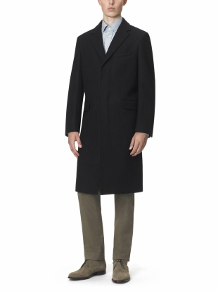 Navy Fly Fronted Overcoat Classic Fit Navy Fly Fronted Overcoat Classic Fit