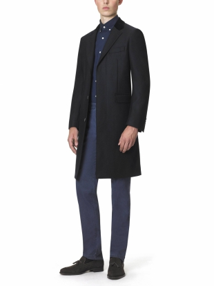 Navy Herringbone Retro Coat Slim Fit Navy Herringbone Retro Coat Slim Fit