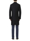 Navy Cashmere Herringbone Retro Coat - 1
